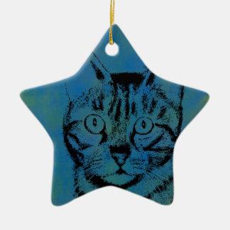 Sketchy Cat on Blue Ceramic Star Ornament