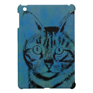 Sketchy Cat on Blue iPad Mini Covers