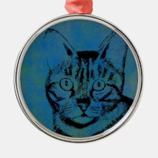 Sketchy Cat on Blue Silver-Colored Round Ornament