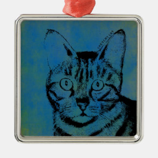 Sketchy Cat on Blue Silver-Colored Square Ornament