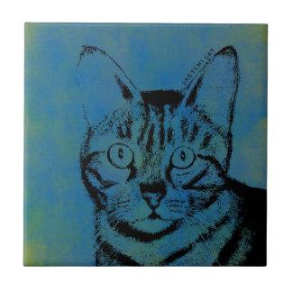Sketchy Cat on Blue Tile