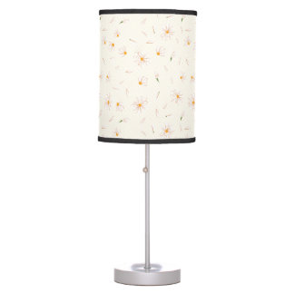 Sketchy daisy flower pattern - floral pattern table lamp