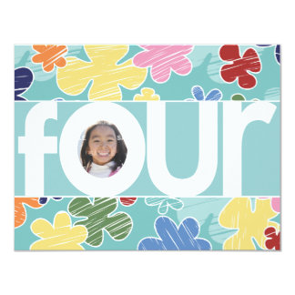 "Sketchy Flowers Fourth Birthday Party Teal 4.25"" X 5.5"" Invitation Card"