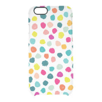 Sketchy Happy Colour Dots Clear iPhone 6/6S Case
