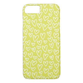 Sketchy Hearts Pattern iPhone 7 Case (Chartreuse)