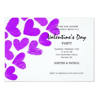 Sketchy hearts Valentine's Day Party Invitation