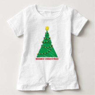 Sketchy Merry Christmas Tree Stroke Baby Romper