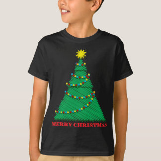 Sketchy Merry Christmas Tree Stroke T-Shirt