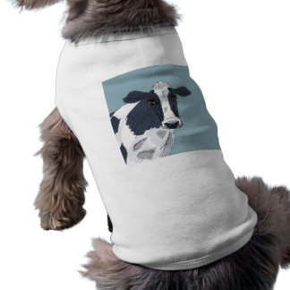 Sketchy Painted Cow in Blue Tones Dog T Shirt