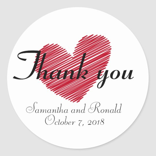 Sketchy Red Heart Wedding Thank You Sticker