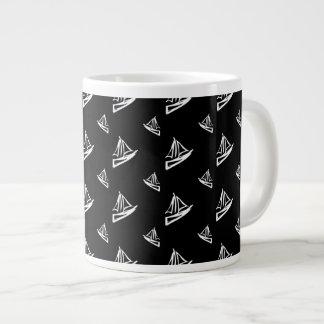 Sketchy Sailboat Pattern Giant Coffee Mug