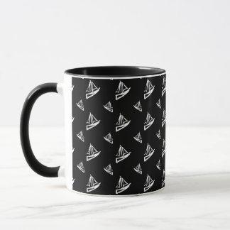 Sketchy Sailboat Pattern Mug