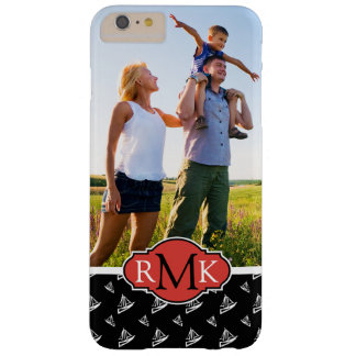Sketchy Sailboat Pattern| Your Photo & Monogram Barely There iPhone 6 Plus Case