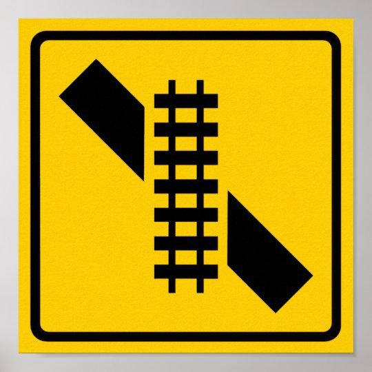Skewed Rail Crossing Highway Sign