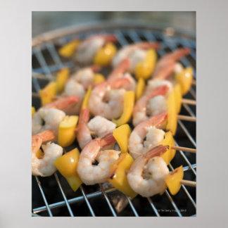Skewer with grilled shrimps and pepper Sweden. Poster