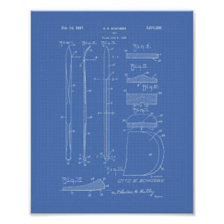 Ski 1937 Patent Art Blueprint Poster