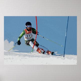 Ski alpin emballant l'affiche