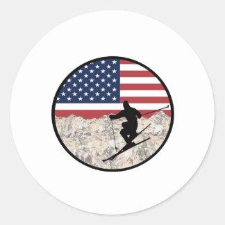 Ski America Classic Round Sticker