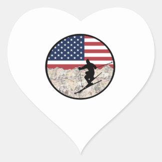 Ski America Heart Sticker