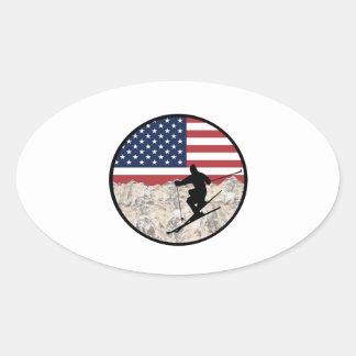 Ski America Oval Sticker
