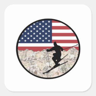Ski America Square Sticker