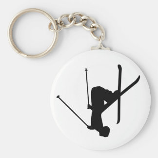 Ski Basic Round Button Keychain