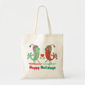 Ski Birds Happy Holidays Tote Bag