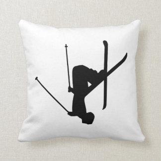 Ski Black Silhouette Throw Pillow