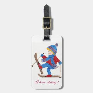 Ski boy kid personalized luggage tag