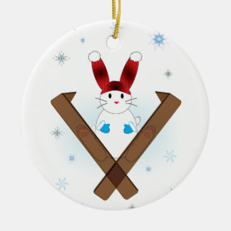 Ski Bunny Ceramic Ornament
