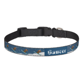 Ski Dog Custom Name Dog Collar