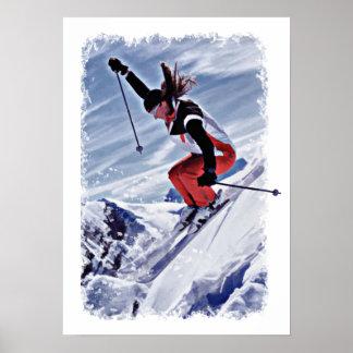 Ski en bas de la montagne en rouge posters