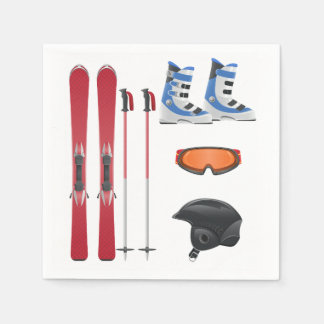 Ski Equipment Paper Napkins