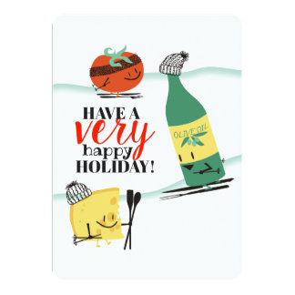 Ski food tomato olive oil cheese Christmas card