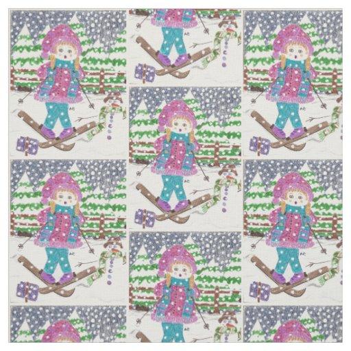 Ski girl fabric