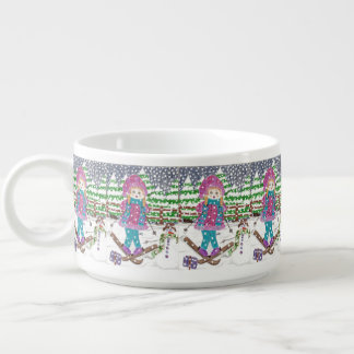 Ski girl pattern chili bowl