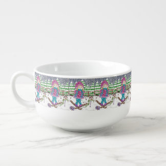 Ski girl pattern soup bowl
