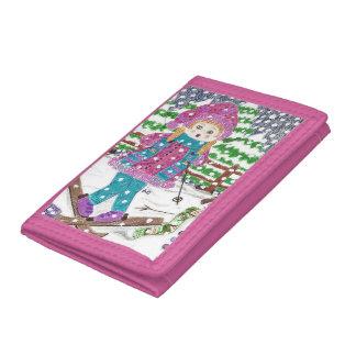 Ski girl pink wallet