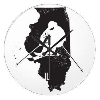 Ski Illinois Large Clock