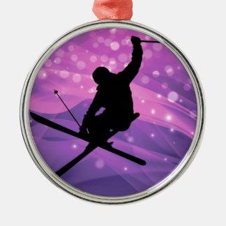 Ski Jump Silver-Colored Round Ornament
