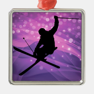 Ski Jump Silver-Colored Square Ornament