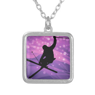 Ski Jump Silver Plated Necklace