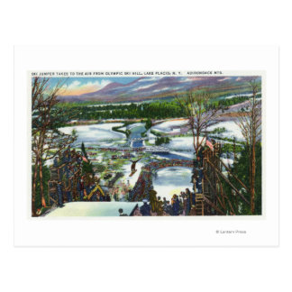 Ski Jumper Takes off from the Olympic Ski Hill Postcard