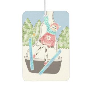 Ski jumping cow car air freshener