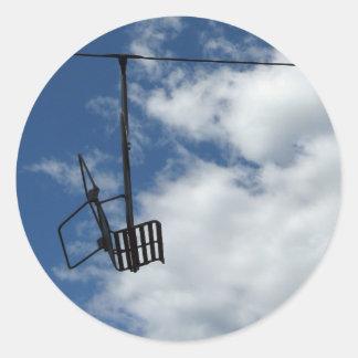 Ski Lift and Sky Classic Round Sticker