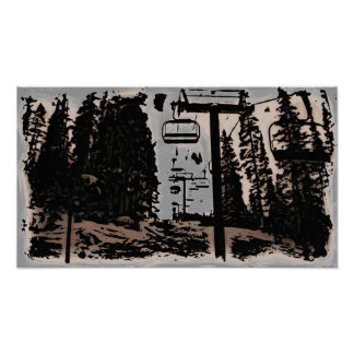 Ski lift artistic canvas print