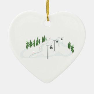 Ski Lift Ceramic Heart Ornament