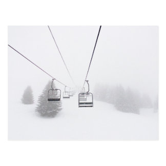 Ski Lifts in Blizzard Postcard. Postcard