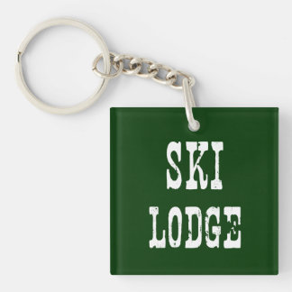 Ski Lodge Green Single-Sided Square Acrylic Keychain