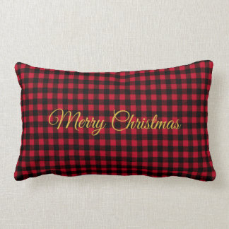 Ski Lodge Red Plaid Holiday Party Throw Pillow